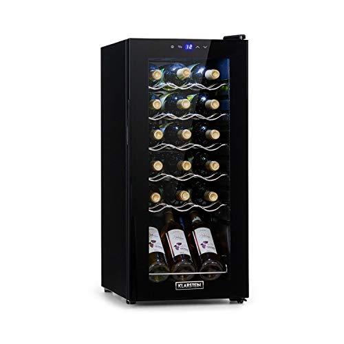 Klarstein Shiraz Slim Weinkühlschrank - Energieeffiezienzklasse A, 5-18 °C, 42 dB, Soft-Touch-Bedienfeld, LED-Beleuchtung, freistehend, 5 Regaleinschübe, 50 Liter, für 18 Flaschen Wein, schwarz