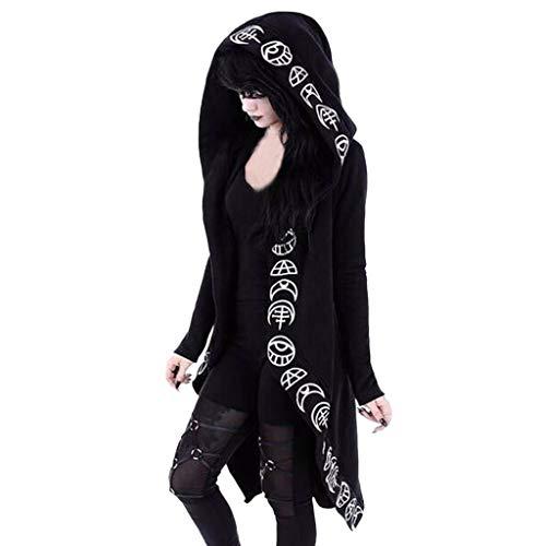 Lalaluka Punk Kleidung Damen Gothic Mantel Mit Kapuze Mond Druck Punk Kleidung Mantel Kapuzenumhang Hoodie Pullover Mittelalter Halloween Kostüm Karneval