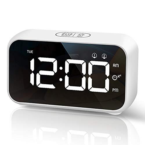 HOMVILLA Despertadores Digitales, Reloj Despertador Digital, Mini Reloj Digital Despertador, Alarma de Espejo Portátil, Alarma con Doble Tiempo de Repetición 4 Niveles de Brillo Regulable (Blanco)