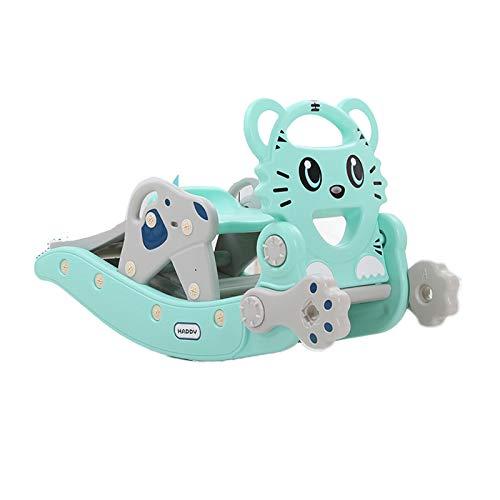 HWZZ Silla De Caballo Mecedora Multifuncional para Bebé Tobogán 2 En 1 Juguete Animal Deslizante para Niños Creativo Adecuado para Regalos De Cumpleaños para Bebés,Azul
