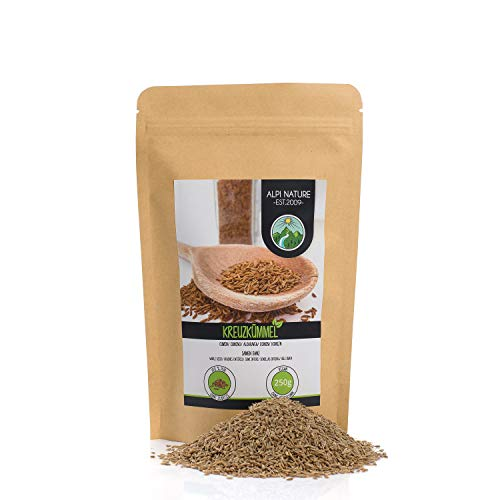 Comino entero (250g), semillas de comino 100% natural, especia natural sin aditivos, vegano