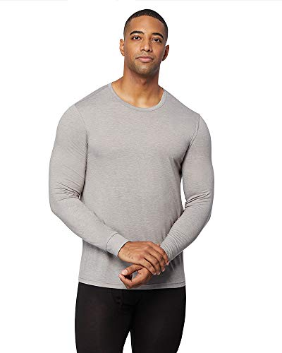 32 DEGREES Mens Heat Performance Thermal Baselayer Crewneck Long Sleeve Top, Concrete Heather, Small
