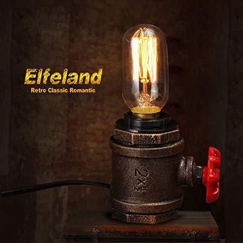Edison Light Bulbs, Elfeland 40W Vintage Antique Light Bulbs Dimmable T45 E26/E27 Tubular Style Bulb for Home Light Fixtures Decorative(2 Pack) (Iron Bulb Socket)