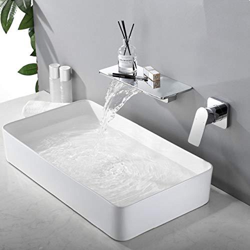 SJIUH Grifo de baño Grifo de Lavabo Montado en la Pared Grifo de Lavabo de baño de Oro Cepillado en la Pared Grifo de Cascada Negro Grifo Mezclador de Lavabo Combinación Blanoir, Chrome