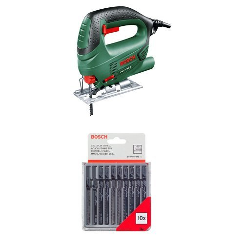 Bosch PST 700E - Sierra de calar electrónica, sistema SDS, función de soplado, 500 W + Pack de 10 cuchillas de sierra caladora