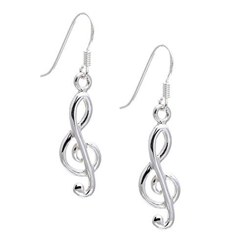Silverly Vioolsleutel voor dames, 925 sterling zilver, oorbellen