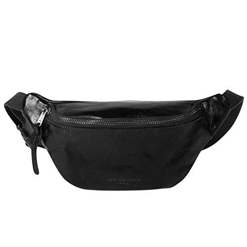HOLZRICHTER Berlin Bauchtasche No 1-1 (M) schwarz - Vintage Gürteltasche & Hüfttasche handgefertigt aus Premium-Leder