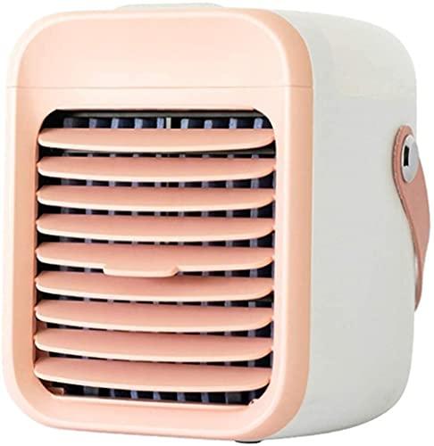 Refrigeradores aire enfriados en agua portátil Mini acondicionador de personal Evaporativo Escritorio Fan de refrigeración Purificador USB Humidificador para el dormitorio de la oficina en casa-Rosa