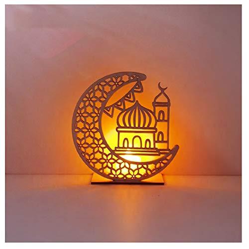 Yuemei Mubarak Ramadan LED Holz DIY Lampe, Holz Ramadan Eid Mubarak Mond LED Kerzen Licht Muslim Islam Eid Festival Dekoratives Licht Windlicht Laterne Tischlaterne Aus Holz Dekorationen (B2)