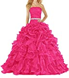 ANTS Women's Pretty Ball Gown Quinceanera Dress Ruffle Prom Dresses Size 4 US Hot Pink