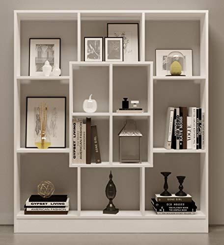 HOMIDEA MARS Bookcase - Bookshelf - Shelving Unit - Room Divider for living room or office in modern design (White)