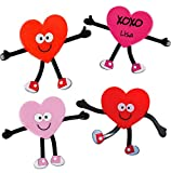 """24 Valentine Bendables Figures, They feature arms and legs you can mold Red & Pink Heart shapes Bendables Size: 5 1/4"""" x 4"""". Material Vinyl Valentines Day Party Favors Prizes for Kids, Giveaways Gifts for Classroom Exchange, Great Candy alternative W..."""