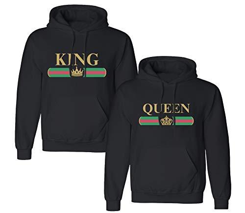King Queen Pullover 1 Stück Partner Pullover Valentinstag Couple Geschenke Pärchen Hoodie Partnerlook Pulli für Paar