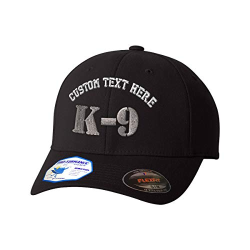 Custom Text Embroidered K-9 Silver Logo Unisex Adult Elastic Polyester/Spandex Flexfit Pro-Formance Branded Hat Baseball Cap - Black