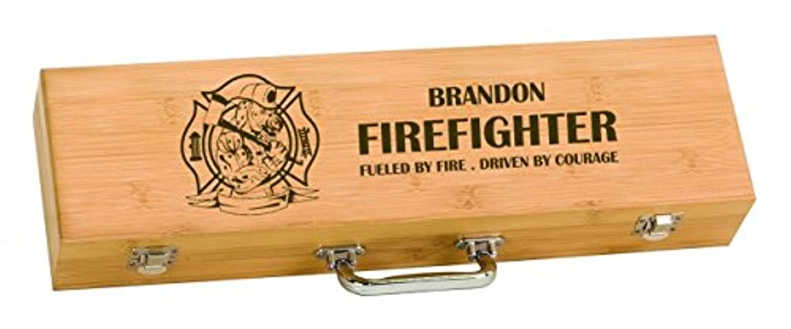 Firehouse Dalmation Firefighter BBQ Grilling Tool Set Personalized Engraved