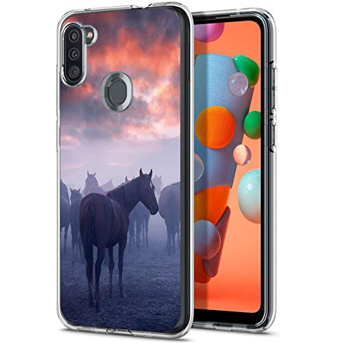 Soebest Samsung Galaxy A11 case,Clear Case with Horse Design,Transparent TPU Soft Bumper Shock Absorption Slim Protective Case for Samsung Galaxy A11