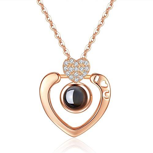 Idiomas de oro rosa Te amo proyección colgante collar romántico amor memoria boda collar (Metal Color : Pure Gold Color)