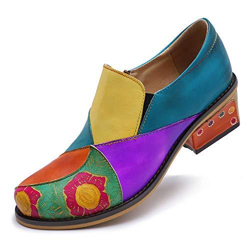 HMNS Shoes Damen Stiefeletten mit Absatz Weinlese Bunte Spleißen Lederschuhe Leder Mary Jane Blockabsatz Schuhe Patchwork-Block Ferse Schuhe,Multi Colored,39 EU