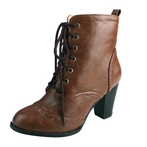 Stiefel Damen Blockabsatz Ösen Schnürsenkel Stiefeletten Runder Zeh Kurzschaft Schnürstiefel Einfarbiges Schuhe Damenschuhe (37 EU, Braun)