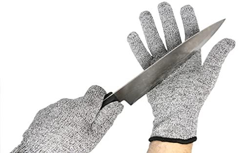 FIBE Gants de Protection Anti Coupure Kevlar Cuisine Bricolage manutention Mandoline Protection de sécurité, Niveau 5 (Taille L). Gants de Haute résistance Norme CE pour garantir Votre sécurité.