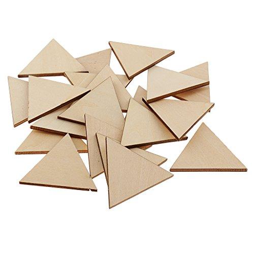 Sharplace Holz Scheibe Verzierungen Scheiben Blumen/Dreieck/Quadrat DIY Naturholzscheiben für Hochzeit Basteln Kunst Handwerk - Dreieck, 50 mm 20 Stück