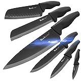Wanbasion Negro Juego de Cuchillos de Cocina, Cuchillos Cocina profesional chef, set de Cuchillos de Cocina Acero inoxidable