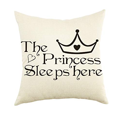 Ogiselestyle Girl Nursery Decor The Princess Sleeps here Motivational Sign Cotton Linen Home Decorative Throw Pillow Case Cushion Cover with Sayings for Sofa Couch, 18