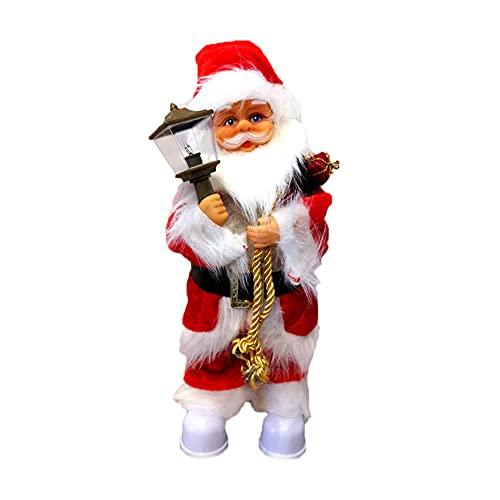 OKUGAIYA Papá Noel cantando, bailando Navidad 30 cm, juguete de música eléctrico, canta Navidad, muñecas, decoración para el hogar