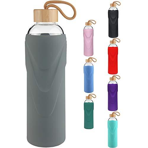 FCSDETAIL Botella de Agua de Cristal sin BPA, Botella de Agua de Vidrio de Borosilicato con Funda de Silicona con Tapa de Bambú 420ml / 660ml / 1000ml
