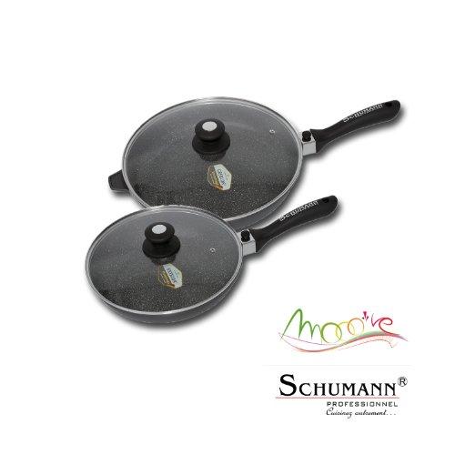 Schumann Professionnel SWO2203200 Black Rock Wok Rev/êtement//Fonte dAluminium Noir 32 x 32 x 8,3 cm