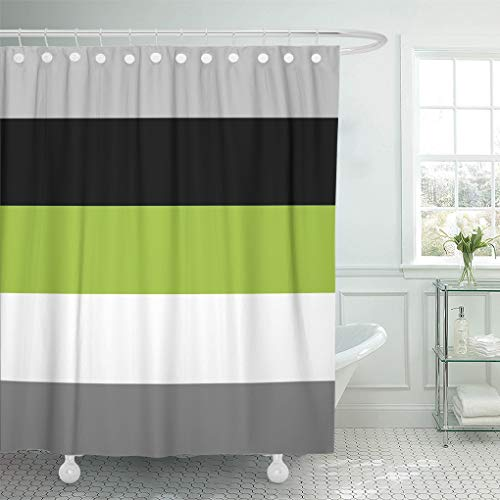 """Semtomn Shower Curtain Grey Color Block Lime Green Gray Black and Stripes 72""""x72"""" Home Decor Waterproof Bath Bathroom Curtains Set with Hooks"""