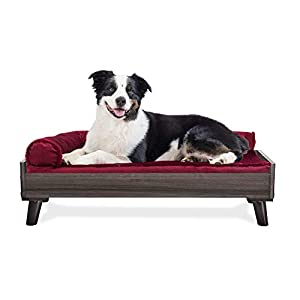 Furhaven Pet Dog Bed Frame – Mid-Century Modern Style Bed Frame Furniture for Pet Beds and Mattresses, Gray Wash, Large