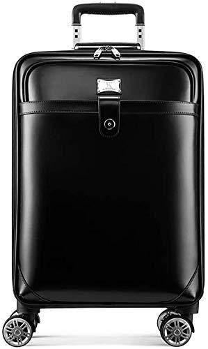 Caja de equipaje escalable con maleta de doble rueda de 20 pulgadas de cuero marrón negro caja de tronco,Black