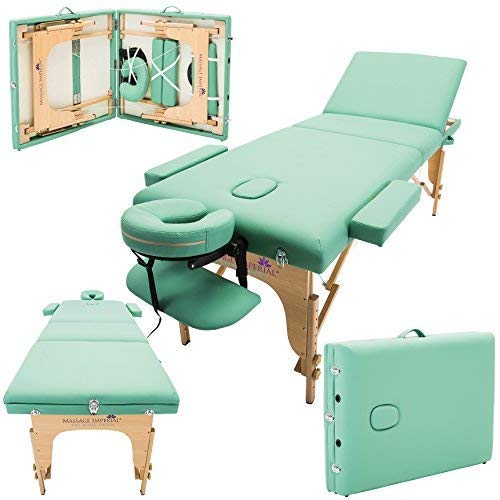 Massage Imperial® - tragbare Profi-Massageliege Chalfont - leicht 16kg - 3-teilig - hellgrün