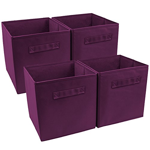 Sorbus Foldable Storage Cube Basket Bin (4 Pack, Purple)