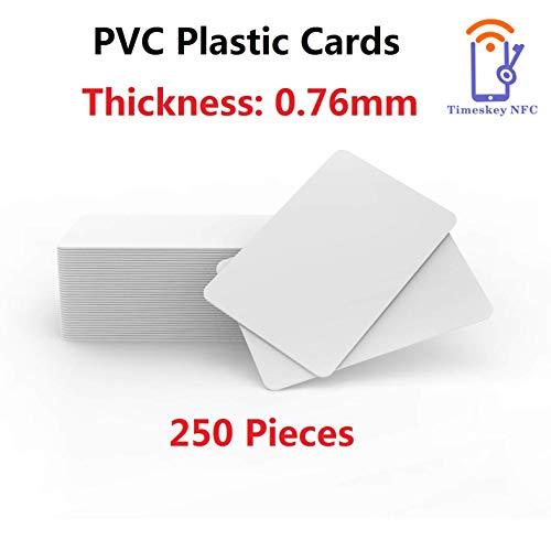 PVC-Karten – Blanko, Weiß, CR80, 760, 250 Stück Timeskey Plastikkarten PVC Card Kompatibel Mit ID Karten Drucker