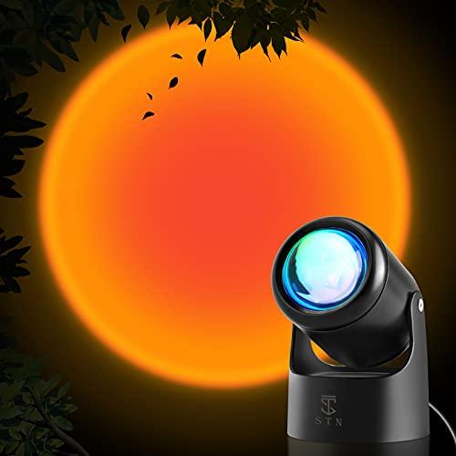 STN Sunset Lamp,Lámpara de Proyección Sunset Sunset Projection Led Light USB 180 Grados Ajustable para la Decoración de la Sala de Estar del Dormitorio del Hogar