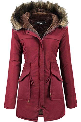 iClosam Ropa De Abrigo Mujer CláSico Cuello Redondo Espesar Abajo Chaqueta Mujer OtoñO Y Invierno BotóN SuéTer Pullover Outwear (Vino Tinto-1, M)