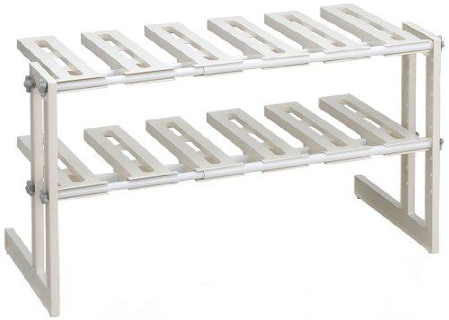 Belca キッチン収納 そのままin シンク下フリーラック2段 伸縮タイプ 幅50~75×奥行30.3×高さ39.9cm ホワイト 日本製 MT2-EX