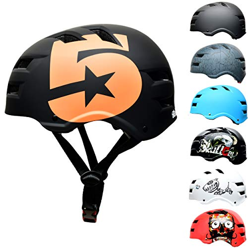 SC Skateboard & BMX Bike Helmet for Teenagers & Adults – Black Orange Skating Helmet, Size: M