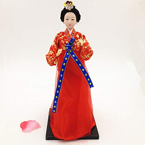 12'' Ancient Traditional Korea Hanbok Girl Beauty Handmade Doll Luxurious Dress Car/Desk/Korean Restaurant BBQ Decorations Birthday Xmas Gift Collectibles(red Costume)