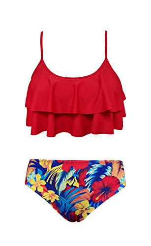 SHEKINI Girls Floral Printing Bathing Suits Ruffle Flounce Two Piece Swimsuits (Rose Red - B, 10-12 Years)