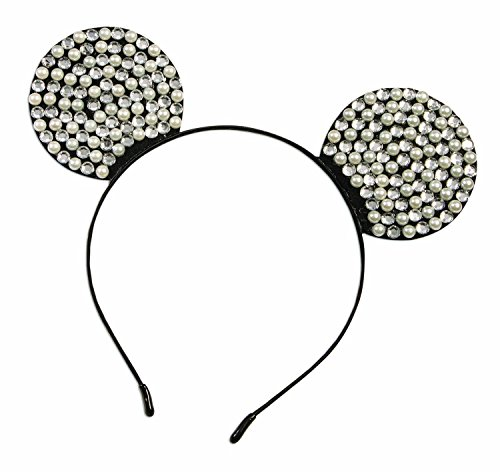 Forum Damen Mouse Ears Rhinestone with Pearl Hosenträger, Black (Black, Silver Black, Silver), Einheitsgröße