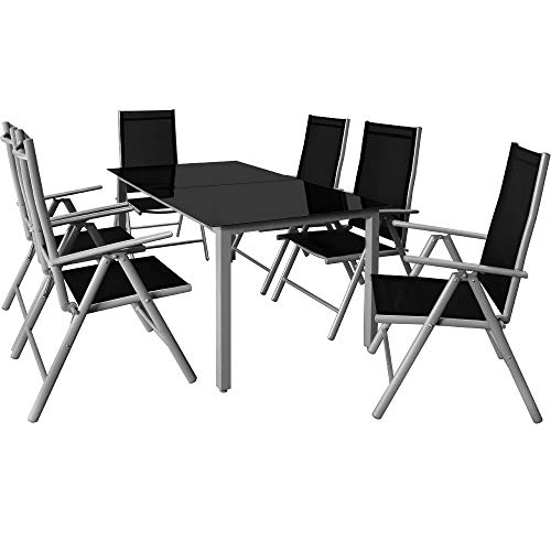 Deuba Garden Dining Furniture 6 Seater Bern Table and Chairs Set Aluminum Glass 6 Seater Recliner Outdoor Patio Silver Anthracite