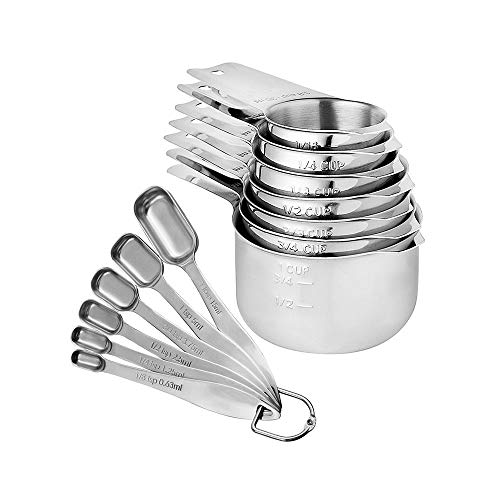 LLS Stainless Steel Measuring Spoons and Cups Sets of 13 Solid Liquid Measure Set for Baking and Cooking 0514