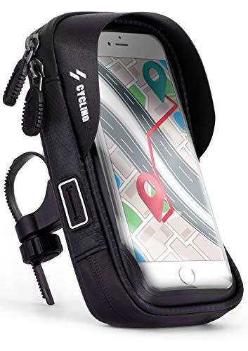 ONEFLOW® Handyhalterung Fahrrad Lenkertasche Wasserdicht für Samsung A + J Reihe Fahrradhalterung 360° Drehbar Handyhalter Motorrad Fahrradtasche Lenker Smartphone Halterung mit Fenster, Schwarz