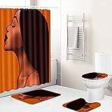 4-Teilig Duschvorhang Set Orangebraunes edles Mädchen Rutschfesten Teppichen Und Badematte Wasserdichtes 180 × 180 cm Machen Sie Ihr Badezimmer lebendiger