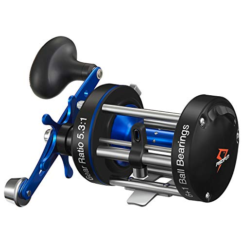 Piscifun Chaos XS Round Baitcasting Fishing Reel Reinforced Metal Body Conventional Reels for Catfish, Musky, Bass, Pike, Saltwater Inshore Surf Fishing Reels (60 Right Handed)