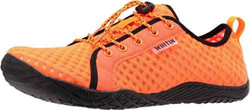 WHITIN Men's Barefoot Water Shoes Minimalist Aqua Sneakers Wide Toe Box 5 Five Fingers Minimus Size 8 Low Zero Drop Gym Workout Fitness Casual Male Orange 40