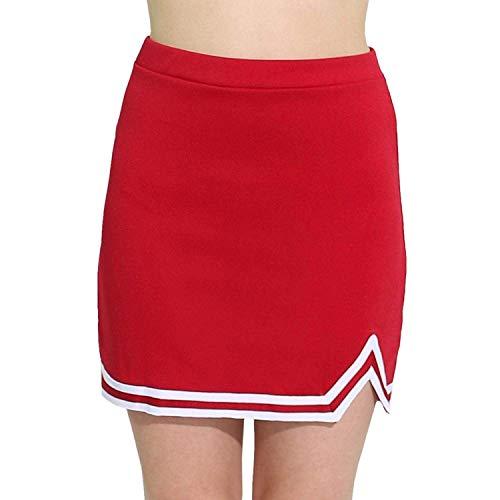 iEFiEL Mädchen Rock Kurz A-Linie Sportrock Schulmädchen Elastisches Minirock Schule Uniform Röcke Cheerleading Verkleidung Rot 140-152